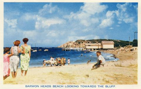 Barwon Heads Beach looking towards the bluff, 1964