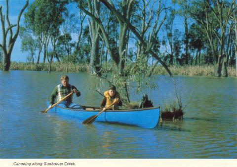 Canoeing along Gunbower Creek, Cohuna