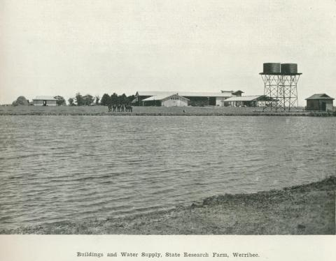 Buildings and water supply, State Research Farm, Werribee, 1918