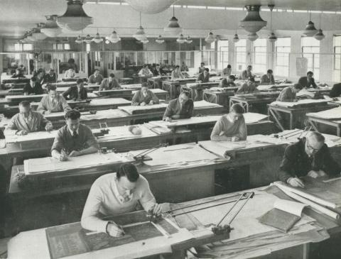 Johns & Waygood, drawing office, South Melbourne, 1956