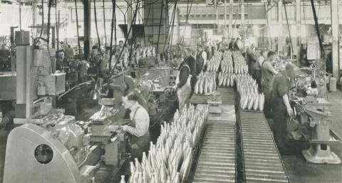 Johns & Waygood, Interior of munitions annexe, South Melbourne, 1956