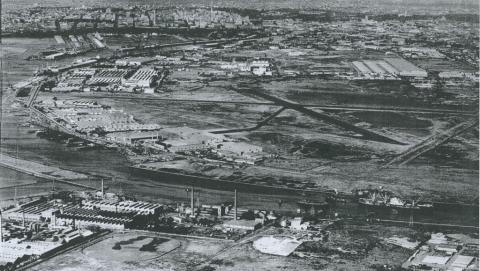 View looking north-east over Fishermans Bend, 1953