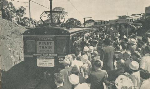 First electric surburban train to Belgrave, 1962