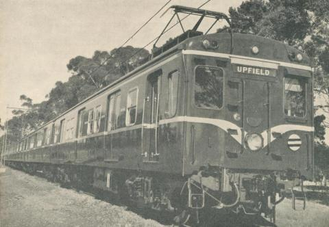 One of the new 'Harris' suburban electric trains to Upfield, 1962