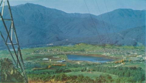 Mount Beauty township and Mount Bogong from Tawonga Gap, c1960
