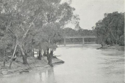 View of bridge over the Murray River at Echuca, 1968