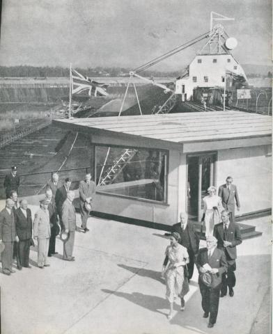 Royal Visit to Yallourn open cut, 1954