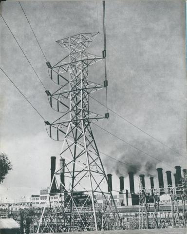 Switchyard, Yallourn power station, 1954