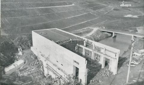 135 kilowatt hydro station being constructed below Big Eildon Dam, 1954