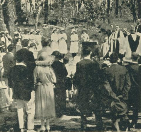 Laying the foundation stone for St Johns Church of England, Yallourn, 1923