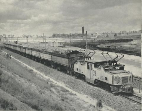 Transport of overburden for disposal - Morwell open cut, 1959