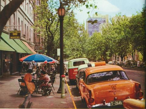 Looking down Collins Street, Melbourne, c1958