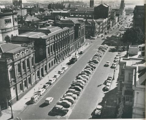 Typical car parking in a city street, Melbourne, 1957