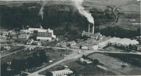 Aerial view of Maffra Co-operative and Nestle's butter and cheese factories, 1955