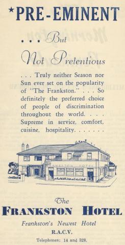 Frankston Hotel, 1949