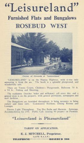Leisureland, Rosebud West, 1949