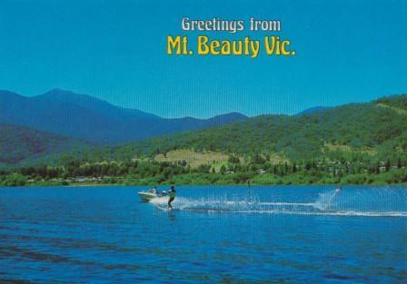 Water ski-ing and Mount Beauty township from the Pondage Lake