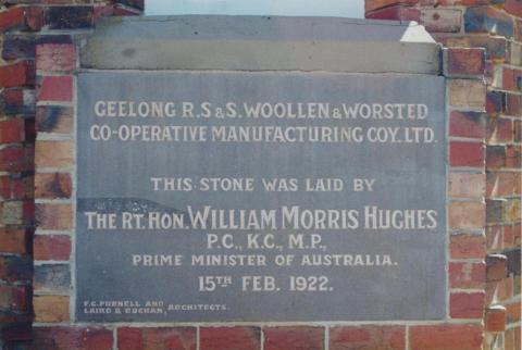 Foundation Stone, R.S.&.S Woollen Mill, Geelong, 1997