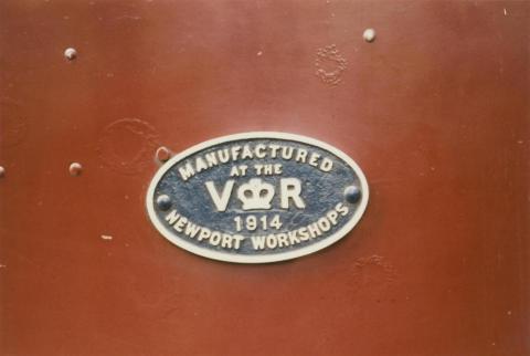 Locomotive, manufacturer's plate, Newport Workshops, 1914