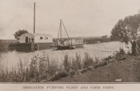 Irrigation pumping plant and farm ferry, Sparrovale, Connewarre, 1908