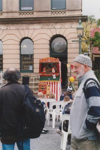 Punch and Judy show and Arnold Zable, Fraser Street, Clunes, 2010