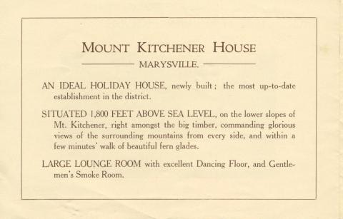 Mount Kitchener House, Marysville, c1925, page 2