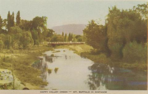Happy Valley Creek - Mt Buffalo in distance, Myrtleford, 1953