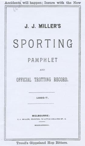 Sporting Pamphlet and Trotting Record, 1886