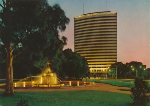 Sir Macpherson Robertson Fountain with BP building, St Kilda Road, Melbourne, 1973