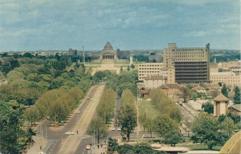 St Kilda Road and Shrine of Remembrance, Melbourne, c1962