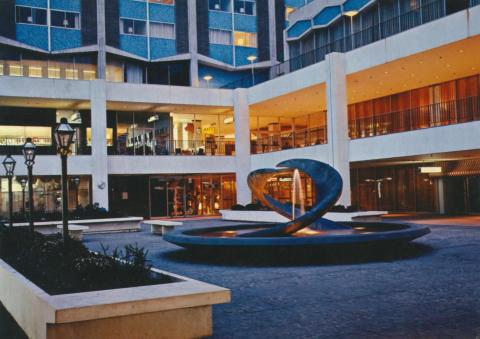 Southern Cross Hotel Plaza and fountain at dusk, Melbourne, 1971