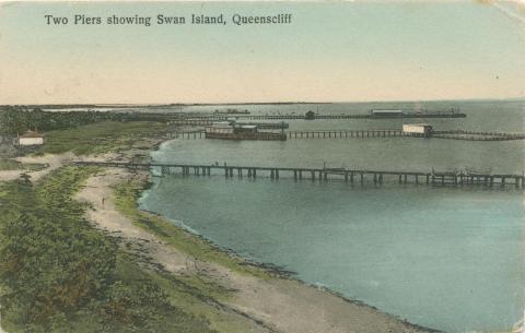 Two Piers showing Swan Island, Queenscliff, 1911