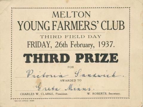 Melton Young Farmers' Club, 1937
