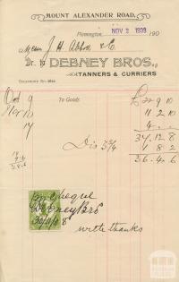 Debney Bros, Flemington, 1908