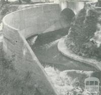 Diversion tunnel during the construction of the dam, Upper Yarra Dam, 1954