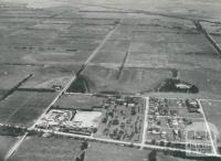 Aerial view of a portion of the Metropolitan Farm, showing Township, Werribee, 1956