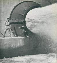 Needle Valve, half open, Hume Dam, c1952