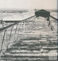 Timber mill gantry for handling logs, Heyfield, 1955