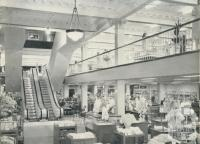 Interior of the new Moore's, showing escalator and mezzanine floor, Chapel Street, Prahran, 1960