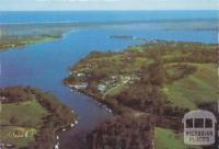 Metung township, lakes and ocean from Chinaman's Creek