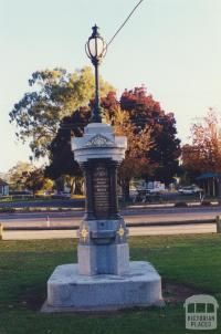 South African war memorial in front of old shire hall, Violet Town, 2000