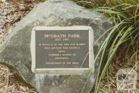 Plaque in McGrath Park, Bena, 2002
