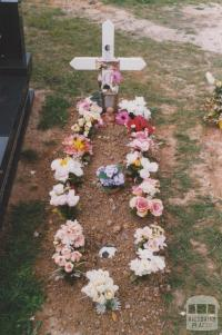 Plot with soccer ball, Yallourn cemetery, 2010
