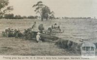 Pressing hay on Mr H.E. Oliver's farm, Lockington, 1952