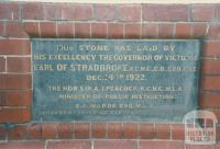 Flemington School (1922) plaque, 1987