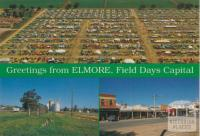 Aerial view field day, silos, main street, Elmore, 1992