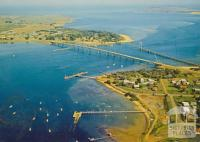 Aerial view of Newhaven, Phillip Island Bridge and San Remo, 1971