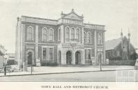 Town Hall and Methodist Church, Stawell, c1925