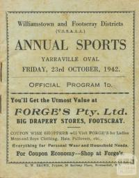 Annual Sports Program, Yarraville, 1942
