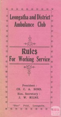 Leongatha and District Ambulance Club Rules, 1930